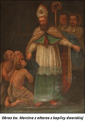 Obraz św. Marcina z ołtarza  z kaplicy dworskiej